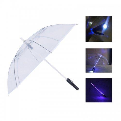 Light Saber LED Flashing Light Up Umbrella Night Protection - Transparent