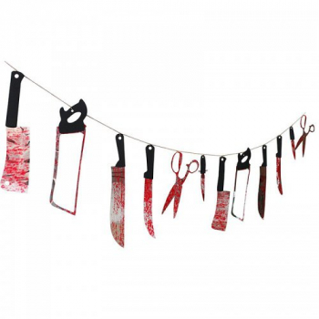 12pcs Halloween Bloody Weapon Garland Butcher Knives Halloween Decoration