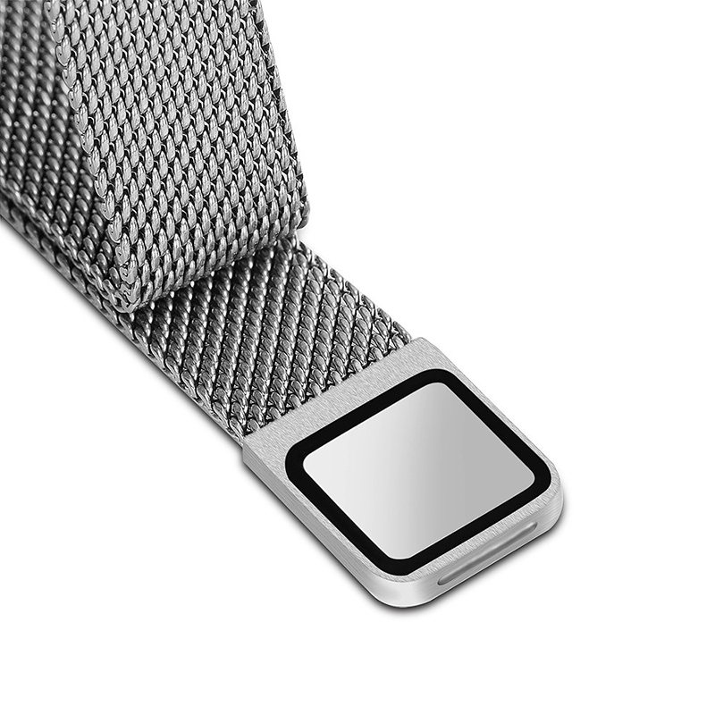 Milanese Replacement Watchband Stainless Adjustable Magnetic Wristband Straps for Fitbit Alta / Alta HR - Silver
