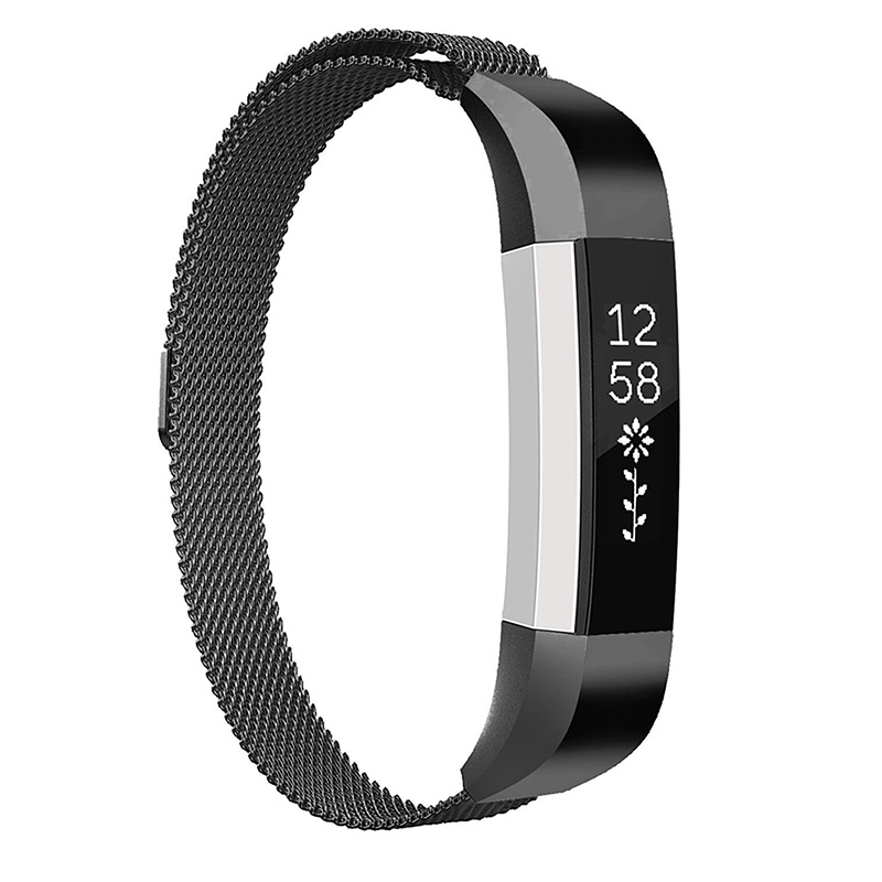Milanese Replacement Watchband Stainless Adjustable Magnetic Wristband Straps for Fitbit Alta / Alta HR - Black