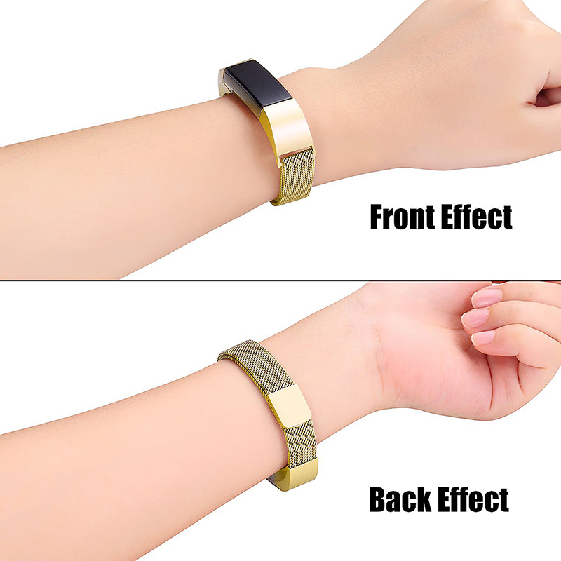 Milanese Replacement Watchband Stainless Adjustable Magnetic Wristband Straps for Fitbit Alta / Alta HR - Golden