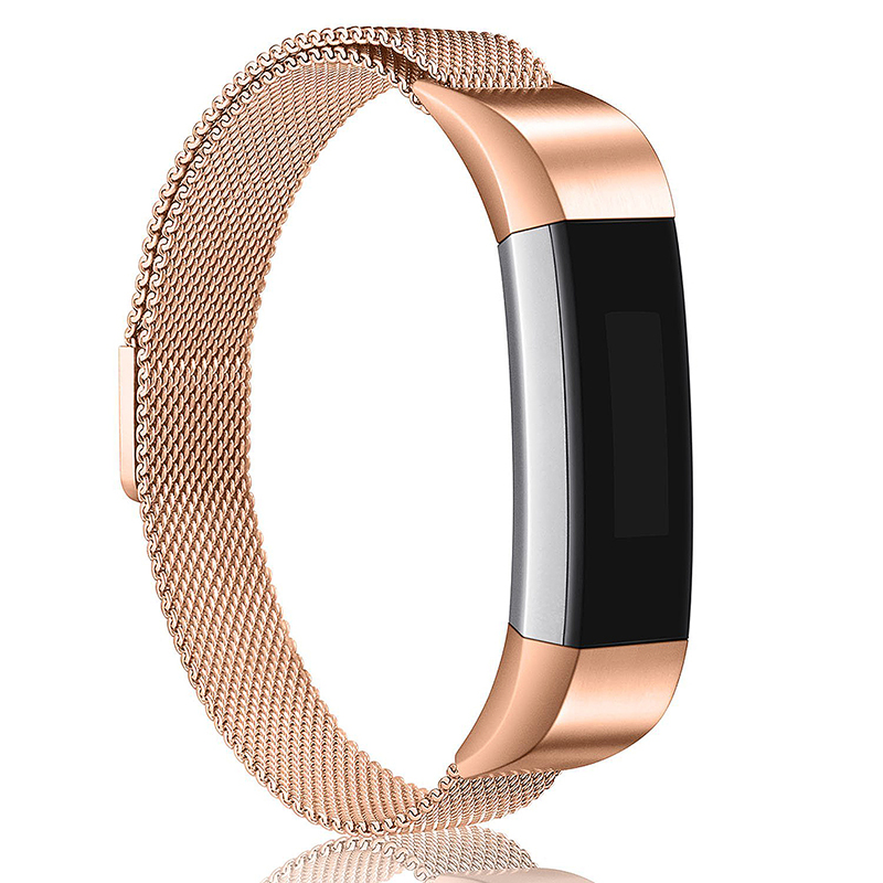 Milanese Replacement Watchband Stainless Adjustable Magnetic Wristband Straps for Fitbit Alta / Alta HR - Rose Golden