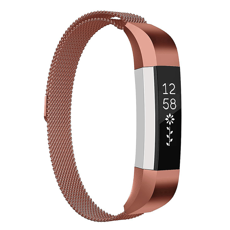 Milanese Replacement Watchband Stainless Adjustable Magnetic Wristband Straps for Fitbit Alta / Alta HR - Light Brown
