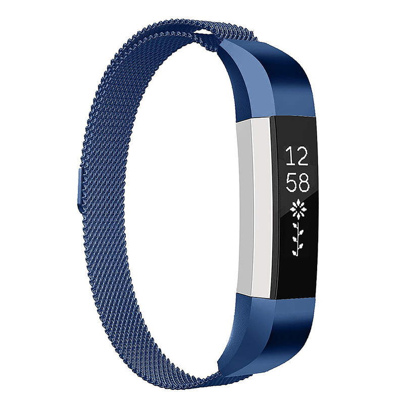 Milanese Replacement Watchband Stainless Adjustable Magnetic Wristband Straps for Fitbit Alta / Alta HR - Blue