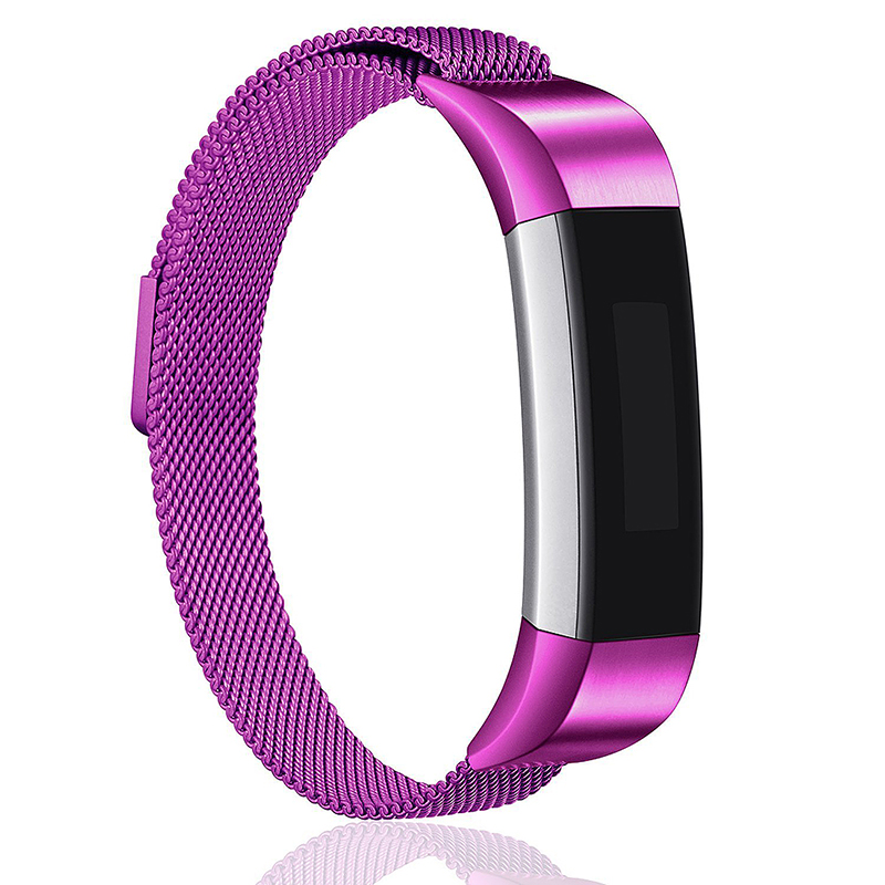 Milanese Replacement Watchband Stainless Adjustable Magnetic Wristband Straps for Fitbit Alta / Alta HR - Purple