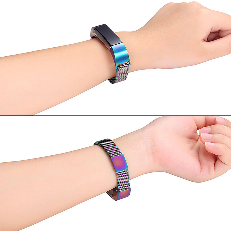 Milanese Replacement Watchband Stainless Adjustable Magnetic Wristband Straps for Fitbit Alta / Alta HR - Colorful