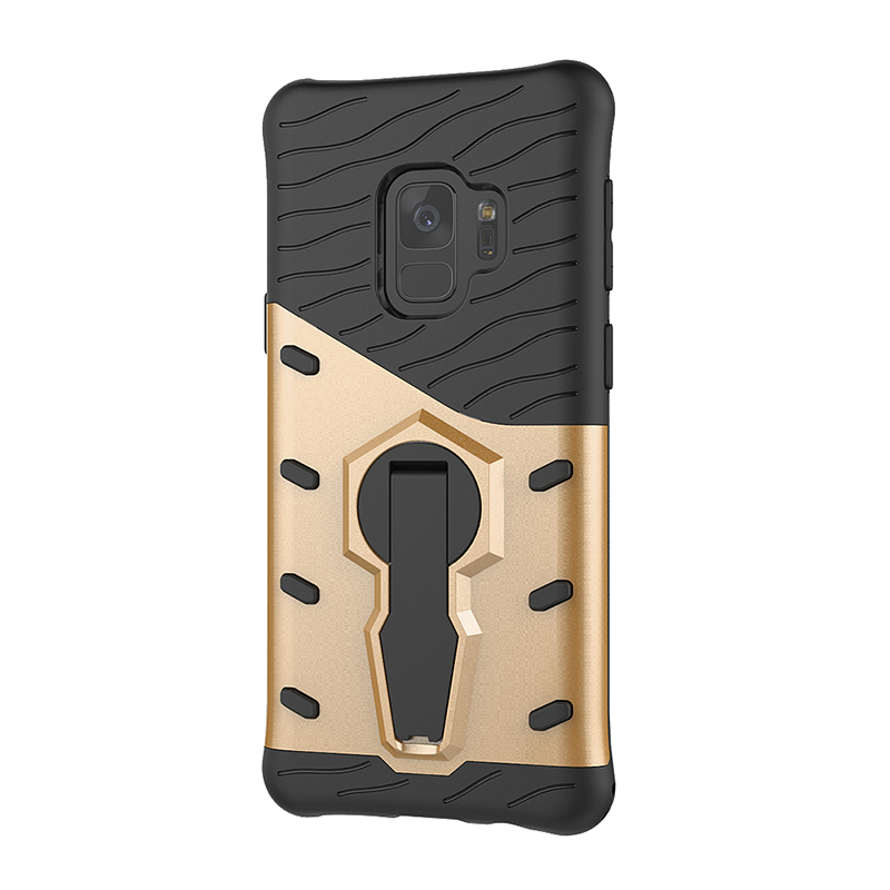 360 Degree Rotating Kickstand TPU + PC Shockproof Case Cover for Samsung Galaxy S9 - Golden