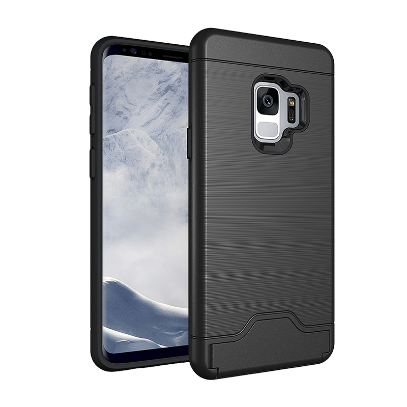 Rugged Drawing Card Holder Stand Case TPU+PC Shockproof Back Cover for Samsung Galaxy S9 - Black