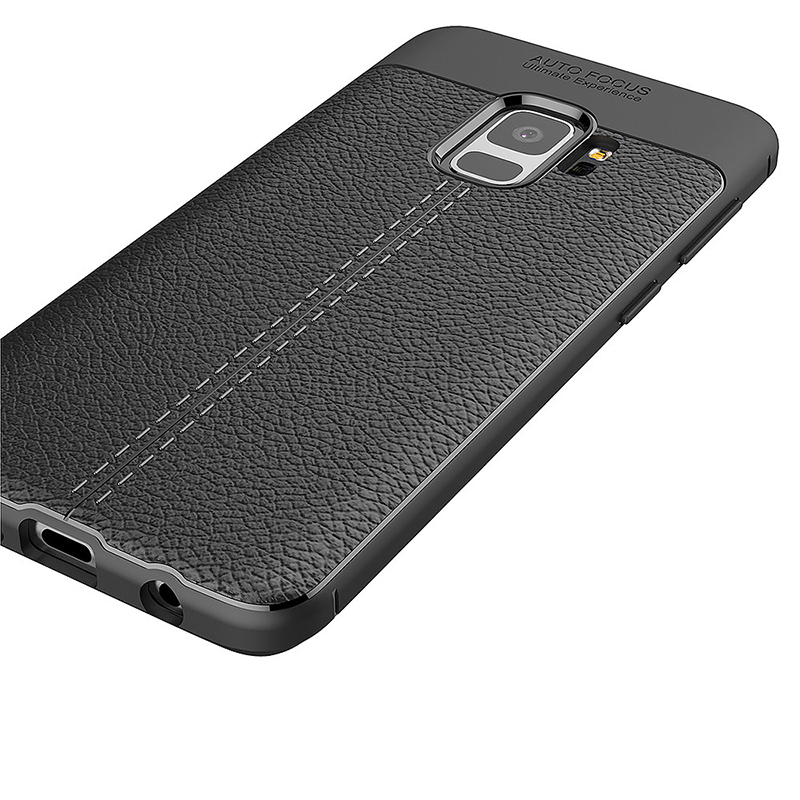 Luxury Litchi Texture Pattern Soft Silicone TPU Shockproof Case Back Cover for Samsung Galaxy S9 - Black