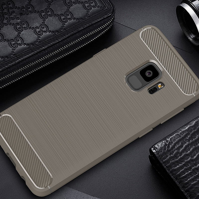 Ultra Slim Carbon Fibre Flexible TPU Shockproof Case Back Cover for Samsung Galaxxy S9 - Grey