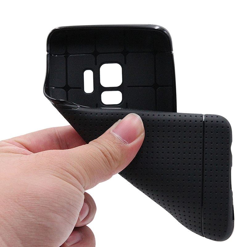 Slim Honeycomb Soft TPU Rubber Shockproof Case Back Cover for Samsung Galaxy S9 - Black