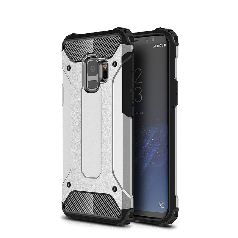 Hybrid Rugged Armor Dual Layer Case Soft TPU Bumper Shockproof Back Cover for Samsung Galaxy S9 - Silver