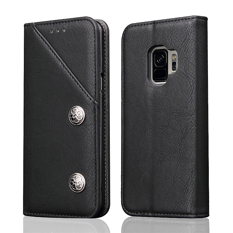 Retro Vintage Stand Wallet PU Leather Case Cover Shell for Samsung Galaxy S9 - Black