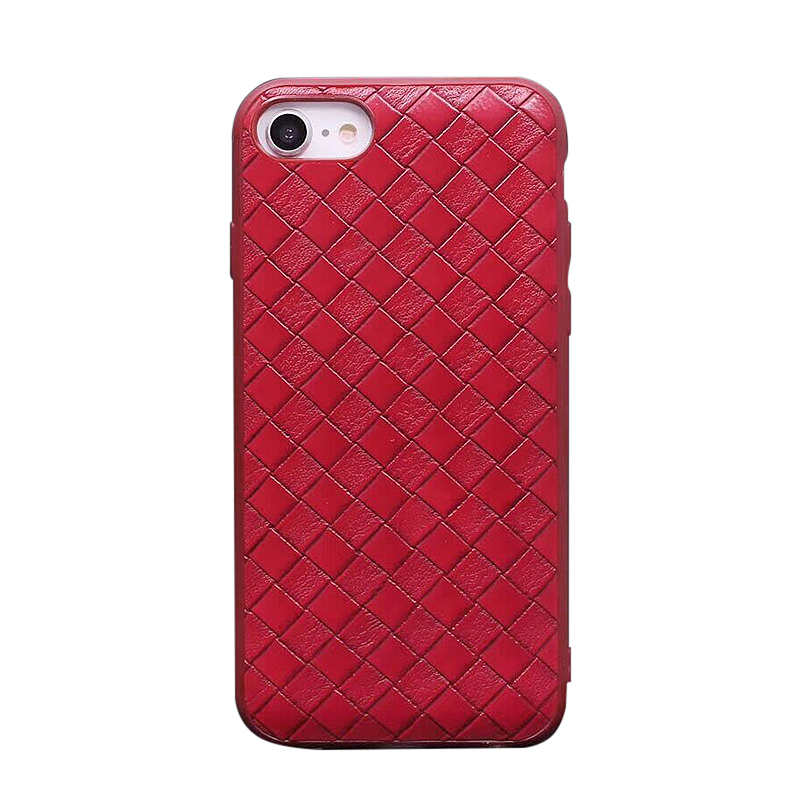iPhone 7/8 Fashion Braided Pattern PU Leather Shockproof Case Back Cover - Red