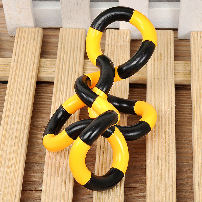 Tangle Fiddle Fidget Toy Anti-Stress ADHD Autism EDC Sensory Fingertoy Gift for Adult Kids - Black + Yellow