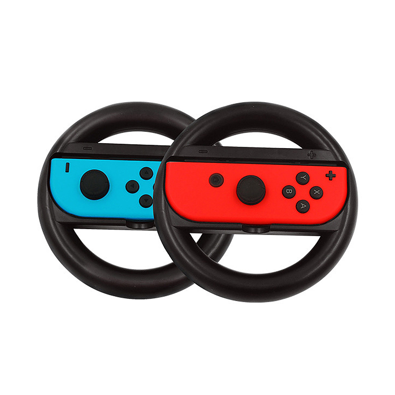 2PCS Steering Wheel Grip Handle Holder for Nintendo Switch Joy Con Controller - Black