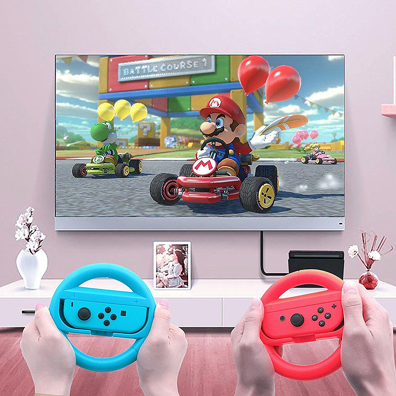 2PCS Steering Wheel Grip Handle Holder for Nintendo Switch Joy Con Controller - Blue + Red