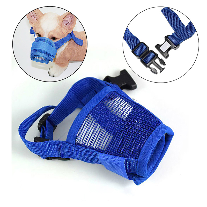 Dog Anti Bark Bite Chew Mesh Mouth Mask Adjustable Breathable Safety Muzzle - Size M
