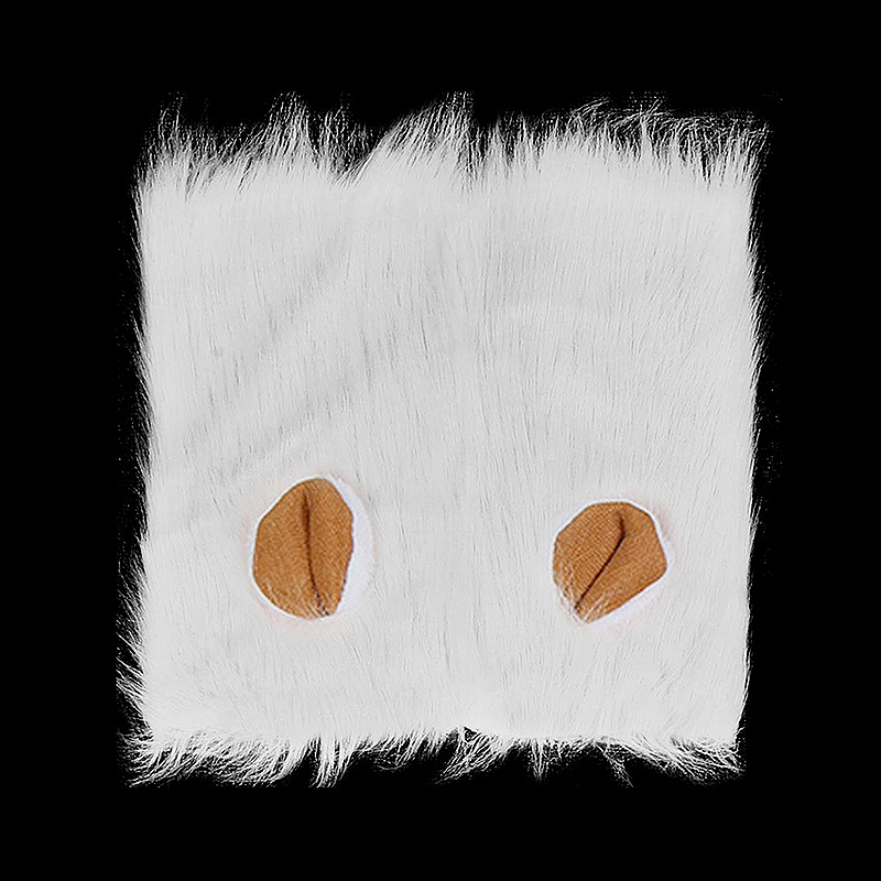Dog Lion Mane Wig Pet Christmas Halloween Festival Fancy Dress Up Costume with Ears - White