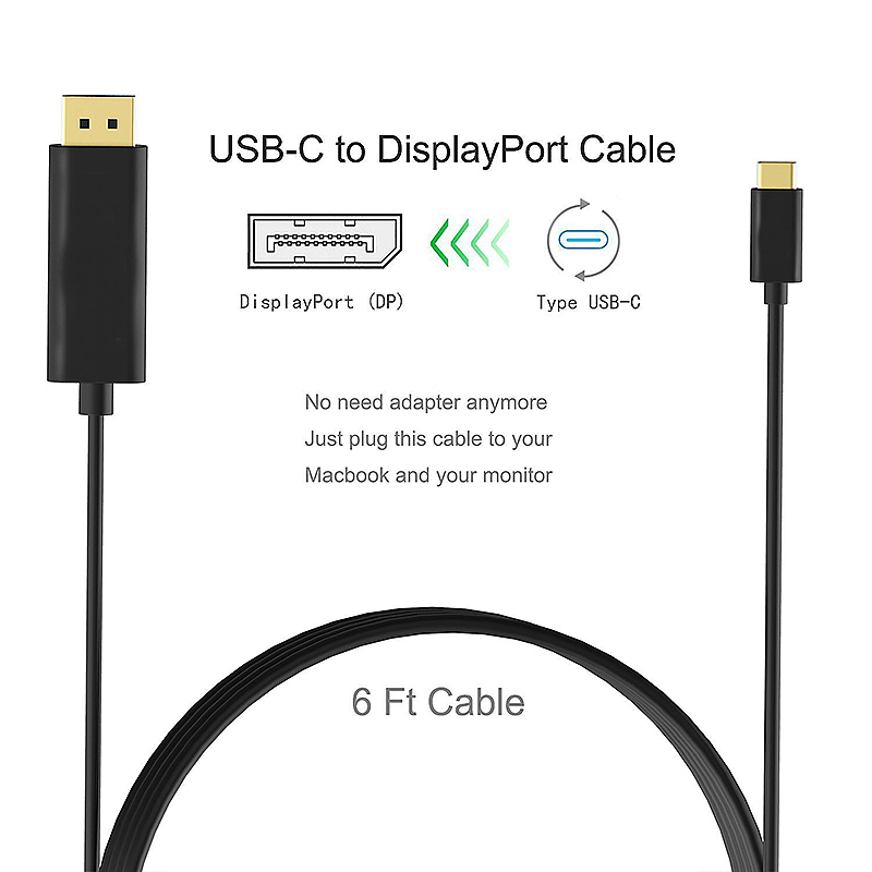 1.8M USB 3.1 Type C Male to DP Dispaly Port Male Adapter Cable Cord for Macbook