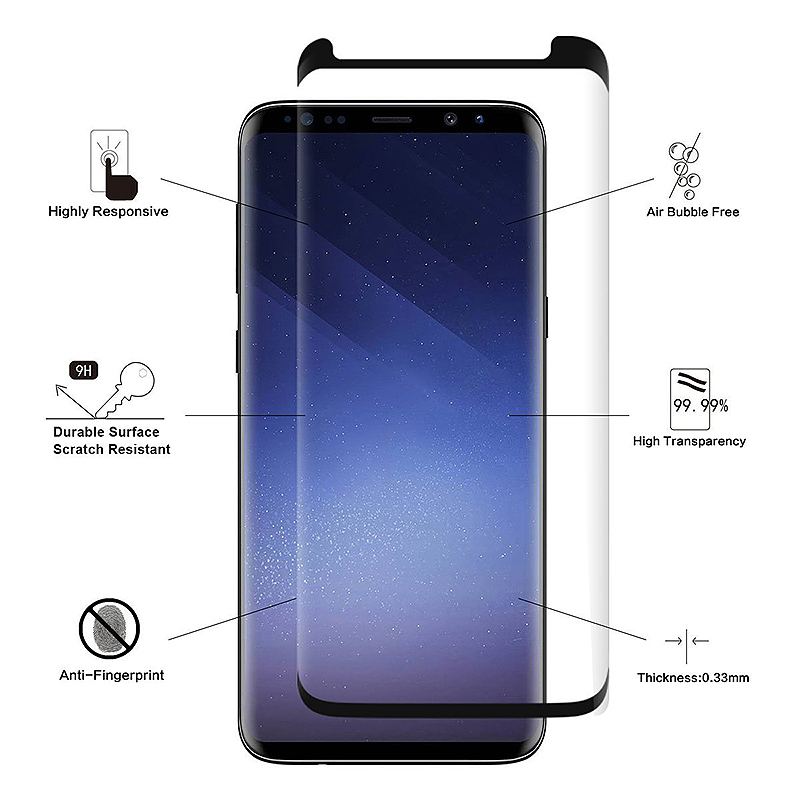 Samsung Galaxy S9 Tempered Glass 3D 9H Shockproof Screen Protector - Black