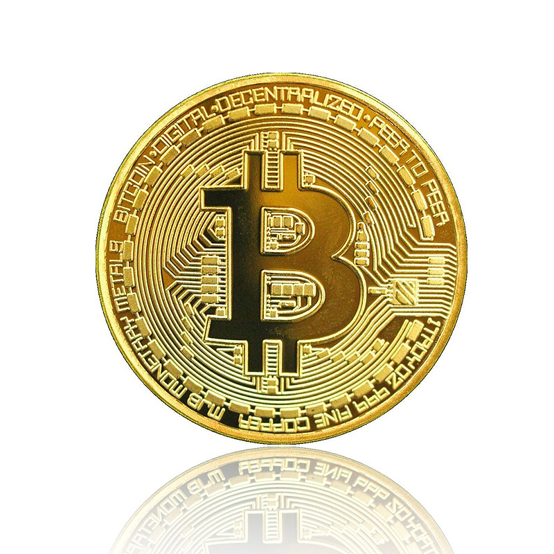 Plated Bitcoin Coin Collectible Gift BTC Coins Physical Art Collection - Gold