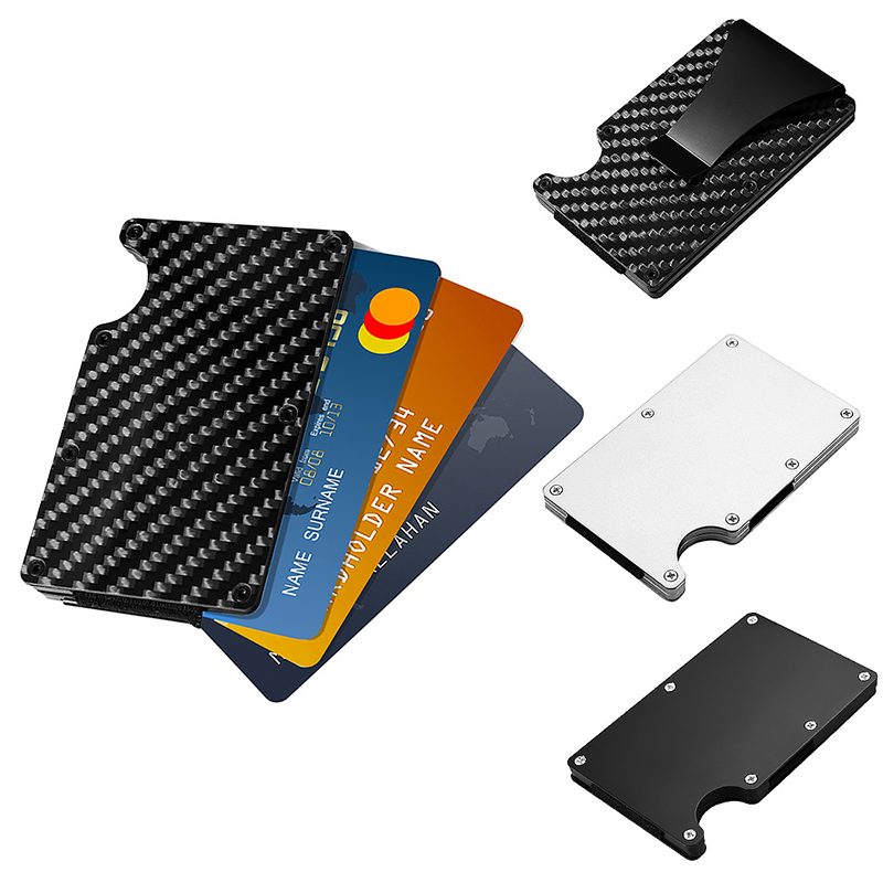 Carbon Fibre ID Wallet Money Clip Slim Mini Credit Card Holder