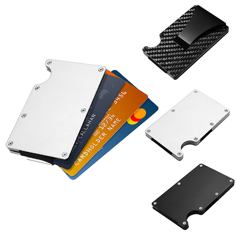 Slim Compact Aluminum Alloy Wallet Money Clip ID Credit Card Holder - Silver