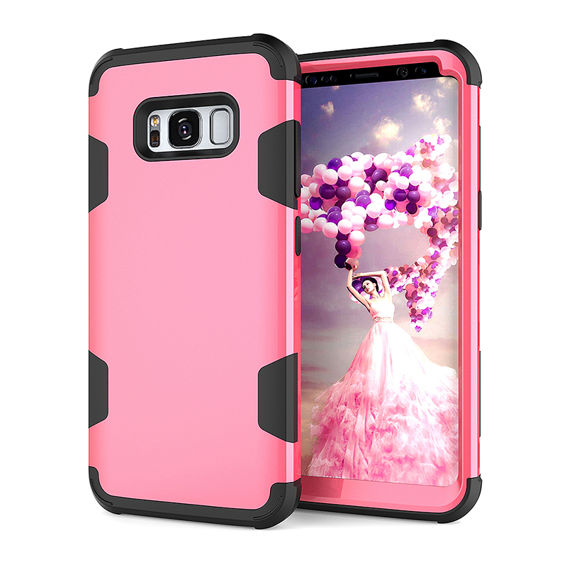 Heavy Duty Shockproof Case Slim PC+TPU Bumper Back Cover for Samsung S8 Plus - Rose Red + Black