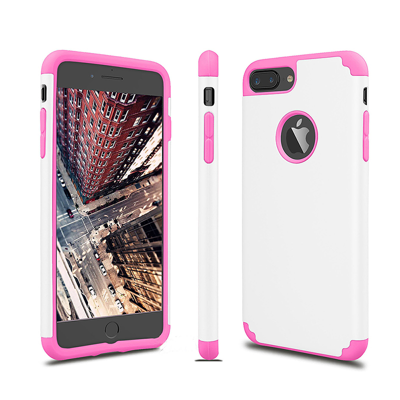 Slim Rugged Armor Shockproof Case Soft Rubber Bumper Back Cover for iPhone 7/8 Plus - White + Pink