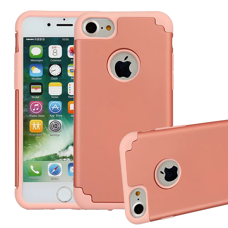iPhone 7/8 Heavy Duty Hybrid Armor Case Soft TPU Rubber Shockproof Back Cover - Rose Gold