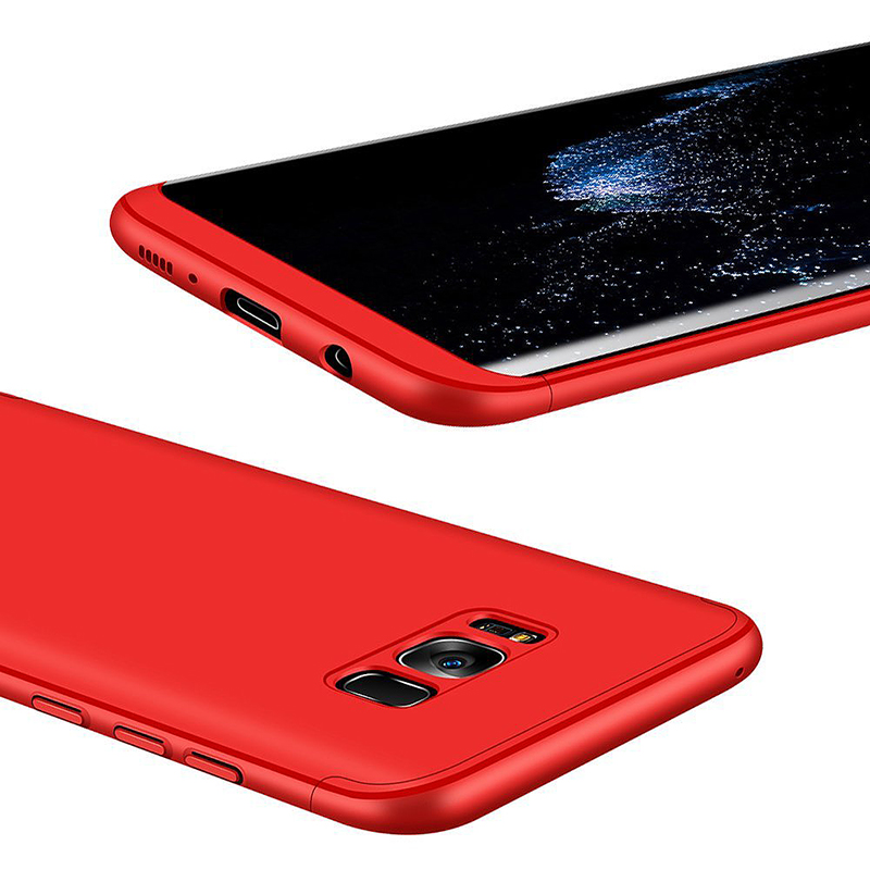 3 in 1 Full Body Shockproof Case Slim Hard PC Back Cover for Samsung S8 Plus - Red