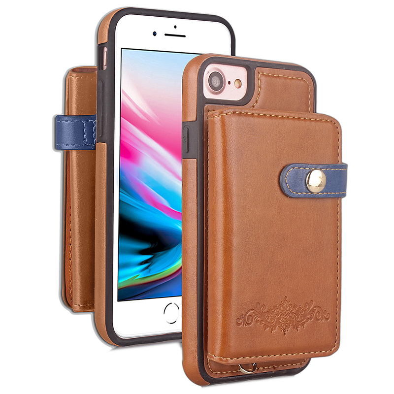 iPhone 7/8 Shockproof PU Leather Wallet Case Luxury Flip Stand Cover - Brown