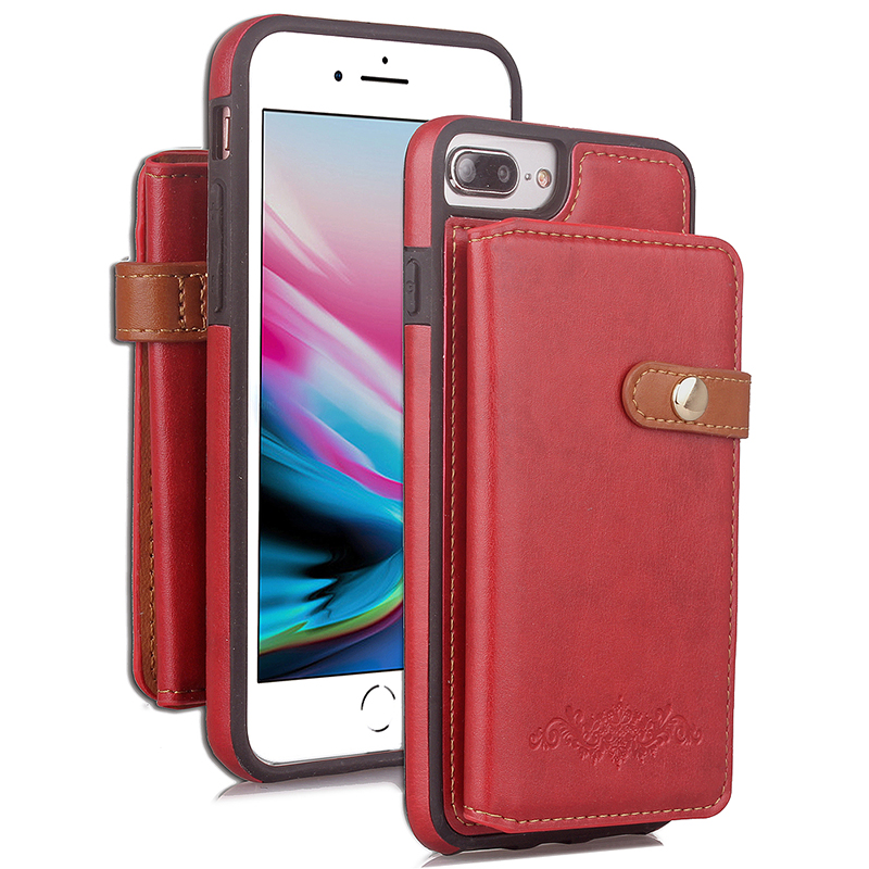 Luxury Wallet PU Leather Case Shockproof Flip Stand Cover for iPhone 7/8 Plus - Red