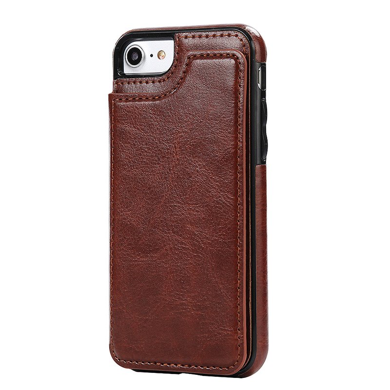 Shockproof PU Leather Wallet Case Magnetic Flip Stand Cover for iPhone 7/8 - Brown