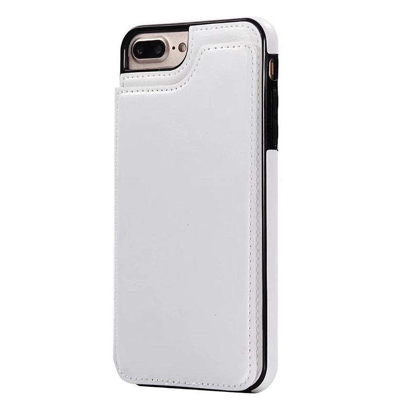 Magnetic Wallet Flip Stand PU Leather Shockproof Case Cover for iPhone 7/8 Plus - White