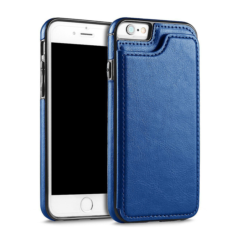 iPhone 6/6S Luxury Magnetic Wallet Flip Stand PU Leather Shockproof Case Cover - Blue