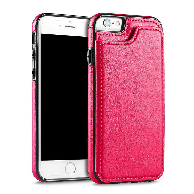 Luxury Flip Stand PU Leather Case Shockproof Magnetic Wallet Cover for iPhone 6/6S Plus - Rose Red