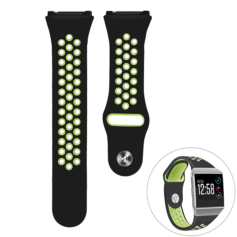Silicone Replacement Watch Band Breathable Sport Wristband Strap for Fitbit Ionic - Black+Yellow