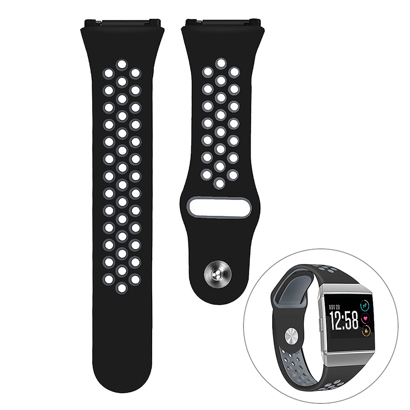 Silicone Replacement Watch Band Breathable Sport Wristband Strap for Fitbit Ionic - Black+Grey