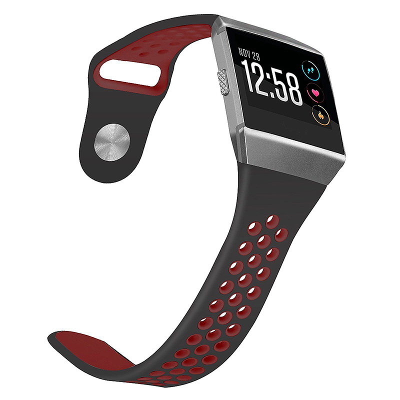 Silicone Replacement Watch Band Breathable Sport Wristband Strap for Fitbit Ionic - Black+Red