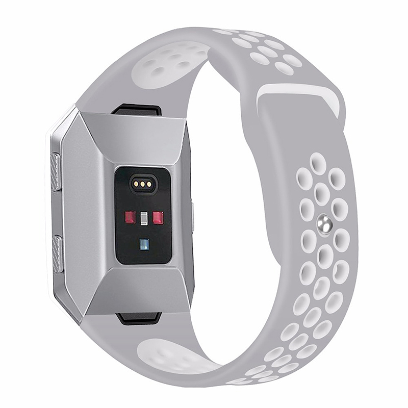 Silicone Replacement Watch Band Breathable Sport Wristband Strap for Fitbit Ionic - Grey+White