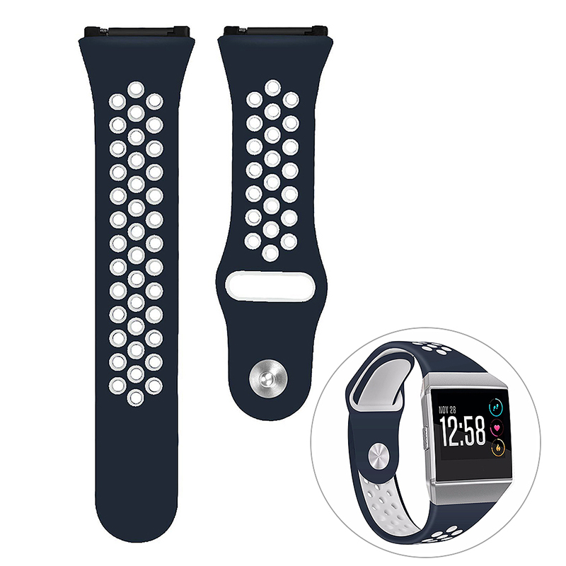 Silicone Replacement Watch Band Breathable Sport Wristband Strap for Fitbit Ionic - Midnight Blue+White