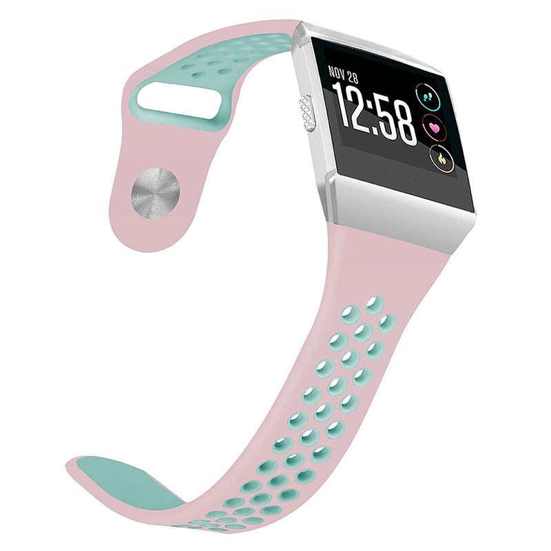 Silicone Replacement Watch Band Breathable Sport Wristband Strap for Fitbit Ionic - Pink+Green