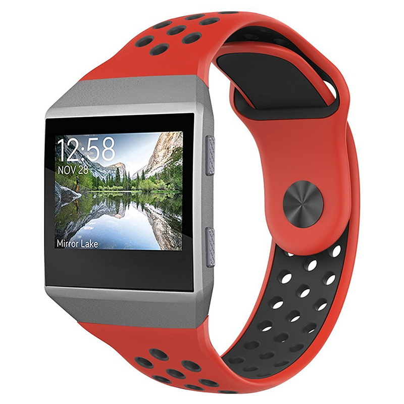 Silicone Replacement Watch Band Breathable Sport Wristband Strap for Fitbit Ionic - Red+Black