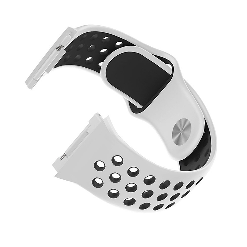Silicone Replacement Watch Band Breathable Sport Wristband Strap for Fitbit Ionic - White+Black