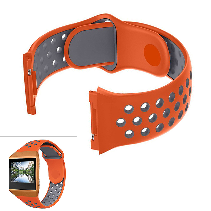 Silicone Replacement Watch Band Breathable Sport Wristband Strap for Fitbit Ionic - Orange+Grey