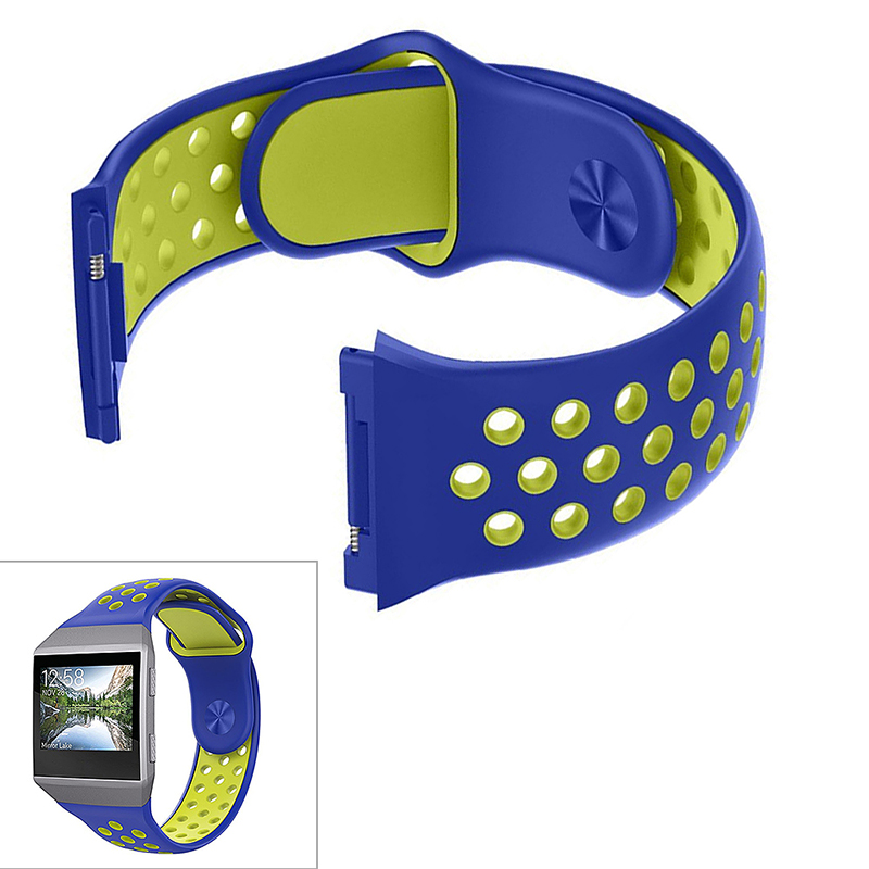 Silicone Replacement Watch Band Breathable Sport Wristband Strap for Fitbit Ionic - Blue+Yellow
