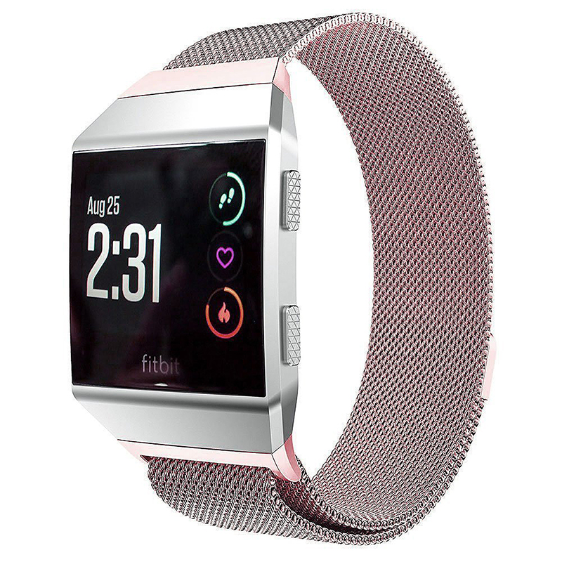 Milanese Stainless Steel Mesh Replacement Watchband Wrist Strap for Fitbit Ionic Size S - Rose Pink