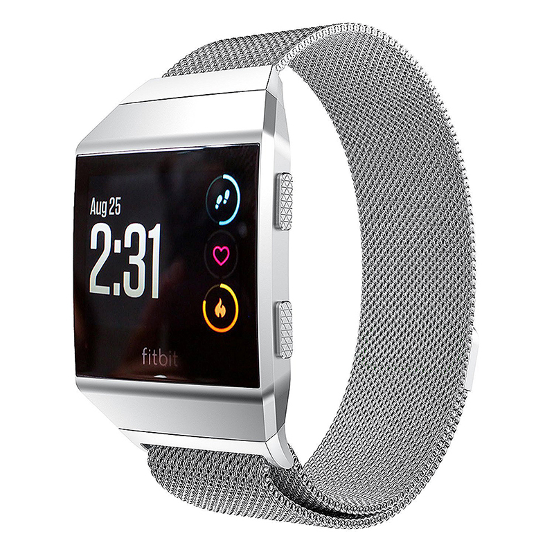 Milanese Stainless Steel Mesh Replacement Watchband Wrist Strap for Fitbit Ionic Size L - Silver